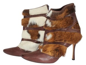 Manolo Blahnik Ankle Leather Brown Leather Boots