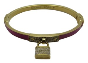 Michael Kors Nwt Michael Kors Gold Tone Purple Pave Motif Padlock Bangle Bracelet