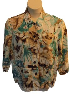 Alfred Dunner Tropical Floral Abstract Button Down Shirt Brown and Blue