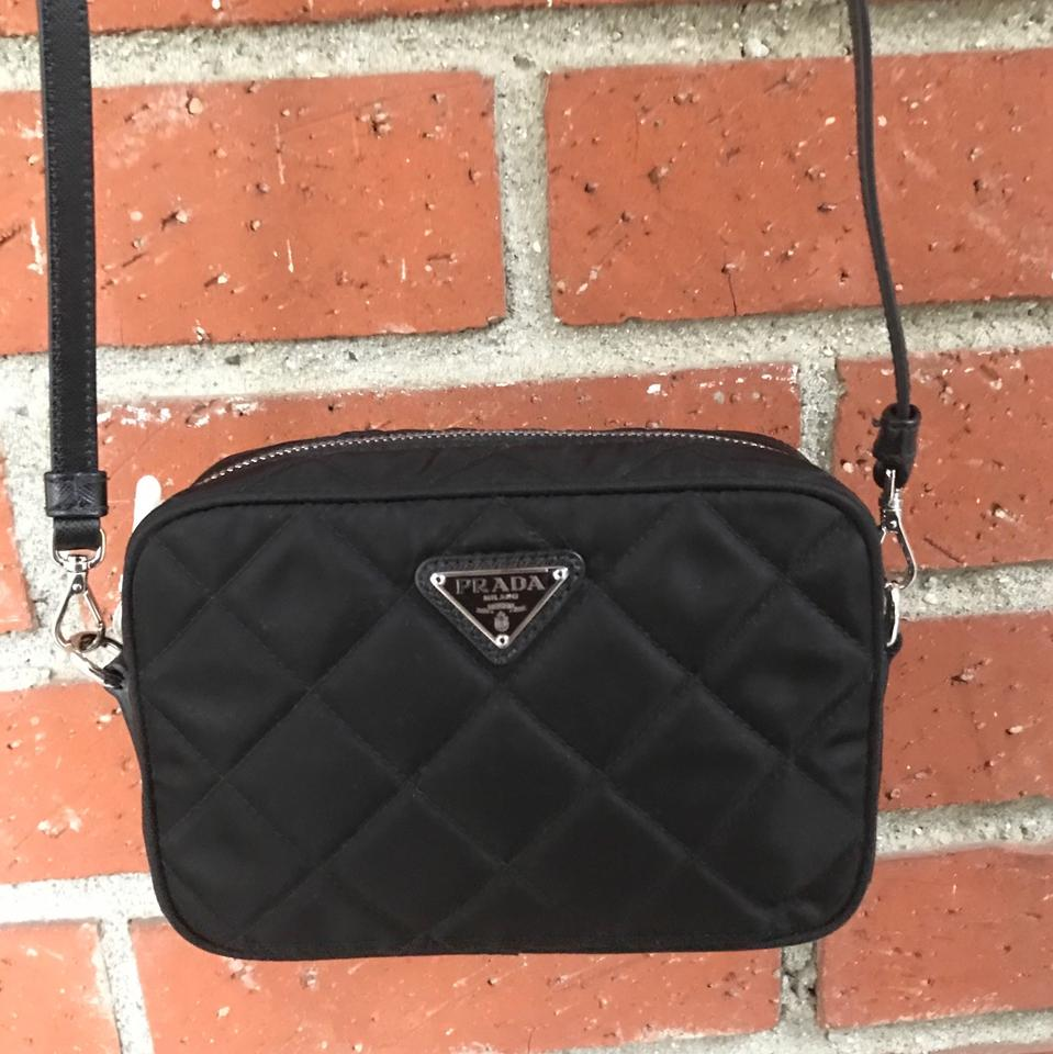 d2b2ef0a7acf Prada Camera Vela Quilted Mini Black Nylon Cross Body Bag - Tradesy