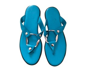 Hogan Leather blue w/ silver hardware Sandals