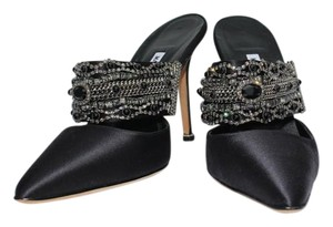 Manolo Blahnik Satin Jeweled Black Satin Mules