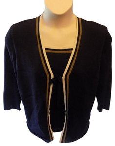 Alfred Dunner Pullover Stretchy Twofer Top Navy Blue