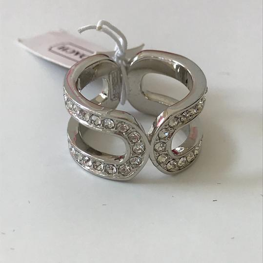 Coach Nwt Coach Silver Tone And Clear Pave Stones Design Ring Size 7