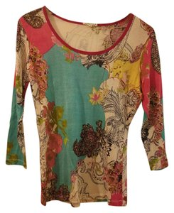 Pashma Silk Cashmere Light 3/4 Sleeve Top multi