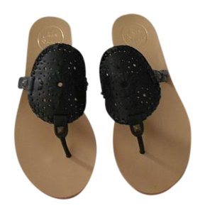 Jack Rogers Large Medallion Black Sandals