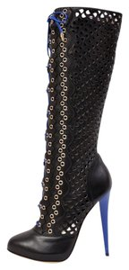 Versace Perforated Leather Boot Black Boots