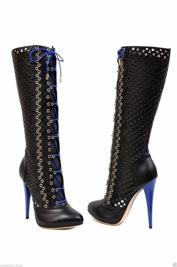 Versace Perforated Leather Platform Black Boots