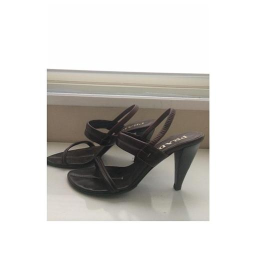 Prada High Heel Leather Brown Sandals