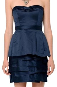 BCBGMAXAZRIA Satin Cocktail Oragami Navy Mini Dress