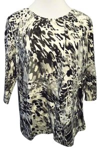 Alfred Dunner Pullover Stretchy Top Black, Gray and White