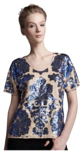 Tracy Reese Sequin Floral Classic Cocktail Fun Pretty Spring Top Blue