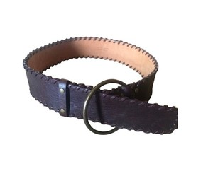 Kooba Kooba Brown Leather Belt With Stitched Detailing And Brass Loop.