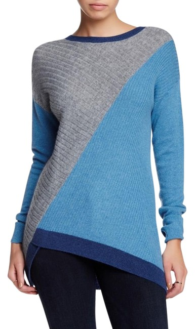 Preload https://item2.tradesy.com/images/gray-and-blue-cashmere-asymmetrical-colorblock-ribbed-sweaterpullover-size-4-s-19808636-0-1.jpg?width=400&height=650