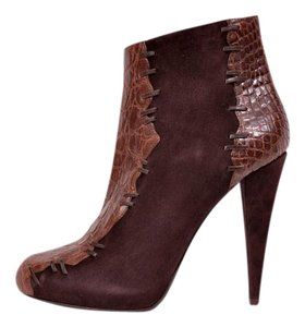 Roberto Cavalli Suede Alligator Brown Boots