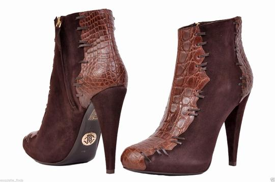 Roberto Cavalli Suede Alligator Hidden Platform Ankle Brown Boots