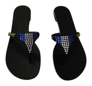 Giuseppe Zanotti Swarovski Crystals Multi Colored Made In Italy Nero Sandals