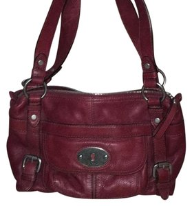 Fossil Satchel in Wine/Burgundy With Brushed Nickel hardware