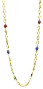 David Webb David Webb Ruby, Emerald & Sapphire Necklace in Yellow Gold