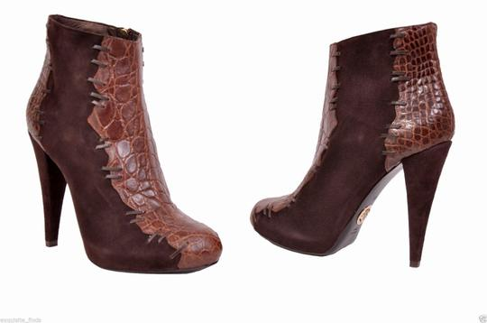 Roberto Cavalli Alligator Suede Hidden Platform Brown Boots