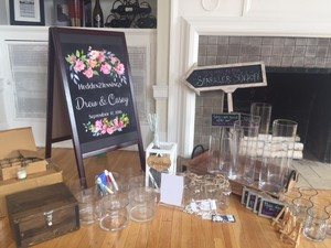 Diy Wedding Reception Package - With Vases Candles An Easel Signs Wooden Gift Box Sparkler Holder And 50
