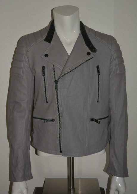 Burberry Mens Jacket Lambskin Moto Pea Coat