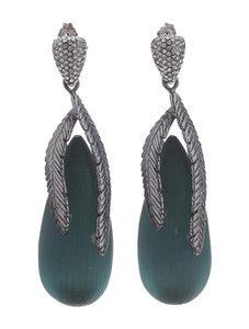 Alexis Bittar Silver-tone and Green Lucite Leaf Earring