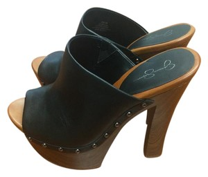 Jessica Simpson Black with Brown Soles Mules