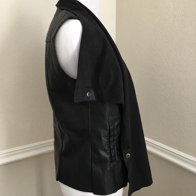KUT from the Kloth Faux Leather Motercycle Drape Layering Capsule Vest