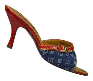 Louis Vuitton Blue/Red Mules