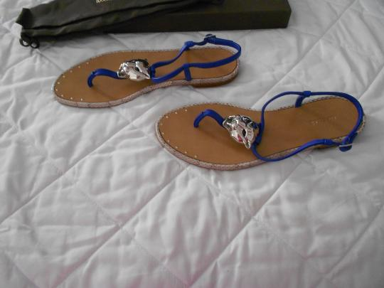 Roberto Cavalli Bold Medallion Sophisticated Design Made In Italy Blue Sandals