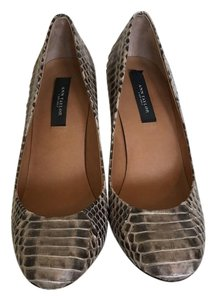 Ann Taylor Pump Leather Heels light brown and cream snakeskin Pumps