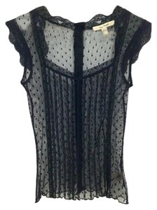 Free People Sheer Lace Mesh Top Black