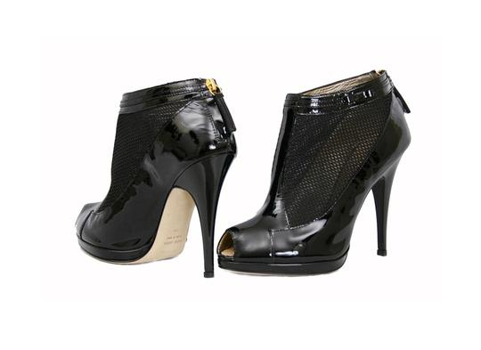 Roberto Cavalli Patent Leather Ankle Black Boots