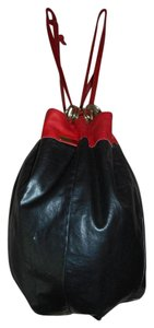Bottega Veneta Leather Italian Drawstring Tote in Black/Red