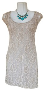 Frederick Ian Scoop Back Mesh Lace Floral Dress