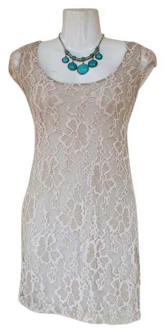 Preload https://item4.tradesy.com/images/beige-tan-floral-lace-mesh-capped-sleep-scoop-back-short-cocktail-dress-size-2-xs-19809363-0-1.jpg?width=400&height=650