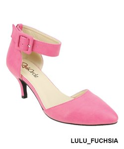 Red Circle Footwear Pointy Low Heel Ankle Strap Casual Fuchsia Pumps