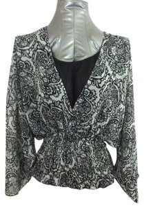 Allison Taylor Floral Career Office Layered Look Top Black and White