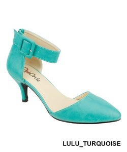Red Circle Footwear Pointy Low Heel Ankle Strap Casual Turquoise Pumps