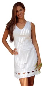 Lirome short dress White Bohemian Embroidered Ibicenco Cottage Chic Denim Blue on Tradesy