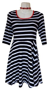 Express short dress black, white, red Skater Striped Scoop Back on Tradesy