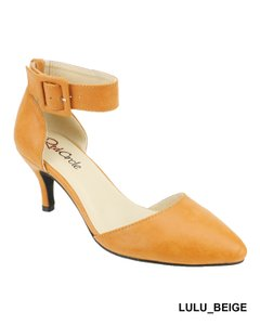 Red Circle Footwear Pointy Low Heel Ankle Strap Casual Beige Pumps