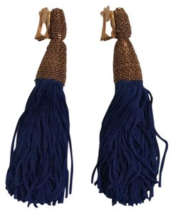 Oscar de la Renta Blue Silk Tassel Earrings
