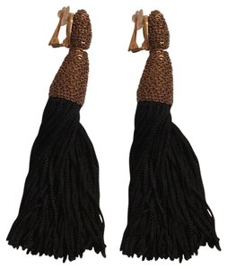 Oscar de la Renta Black Silk Tassel Earrings