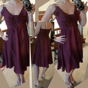 BHLDN Berry Silk Spandex; Acetate Lining. Couplet Vintage Bridesmaid/Mob Dress Size 8 (M)