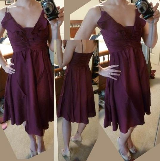 BHLDN Berry Silk Spandex; Acetate Lining. Couplet Vintage Dress Size 8 (M)