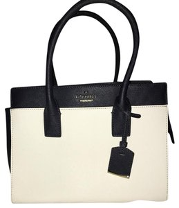 Kate Spade Leather Cameron Satchel in off white/dark navy