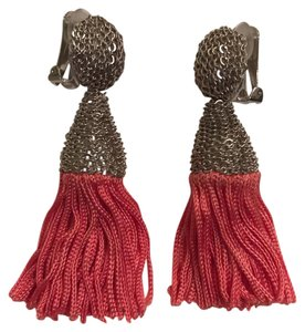 Oscar de la Renta Coral silk Tassel Earrings