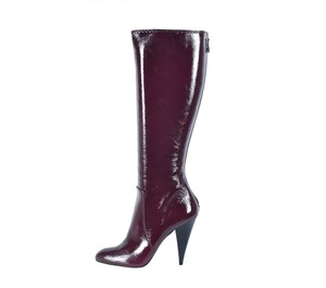 Oscar de la Renta Patent Leather Wine Boots